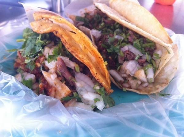 5th stop taco crawl: Fitos: beef birria (red-chile braise), onion, cilantro, toasted red chile salsa