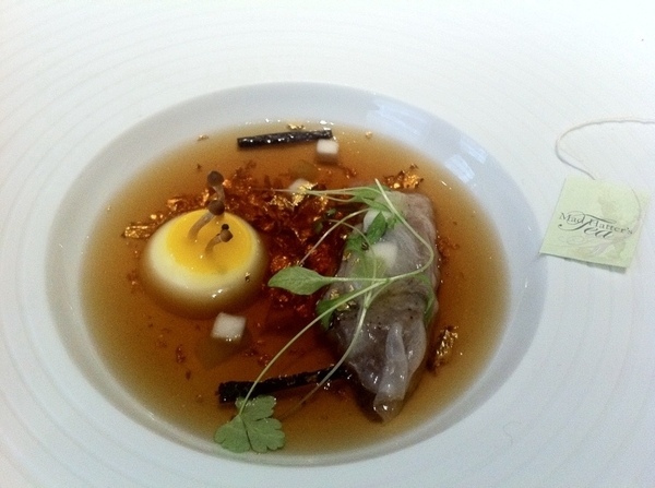 Fat Duck Mock Turtle Soup, cont. 3) pour broth over turnip &quot;egg,&quot;truffle, pork cheek dumpling;4)eat