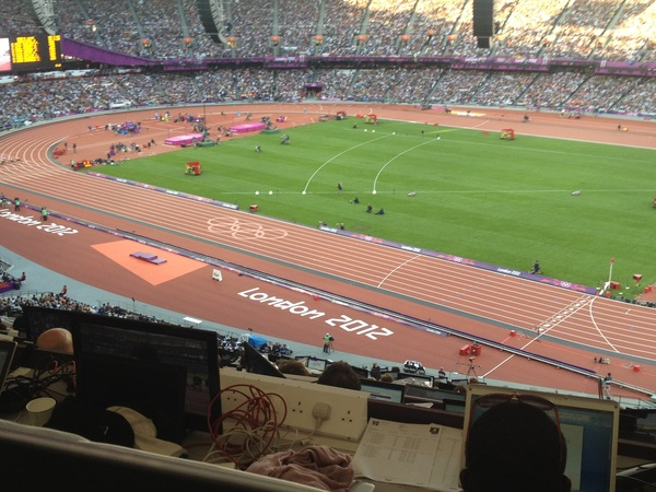 Here we go with the 100-meter semifinals. Justin Gatlin up first. Good view of the finish line.