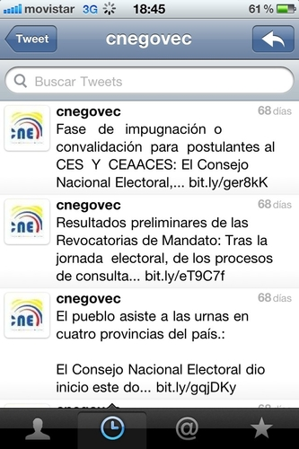CNE twitter desactualizado