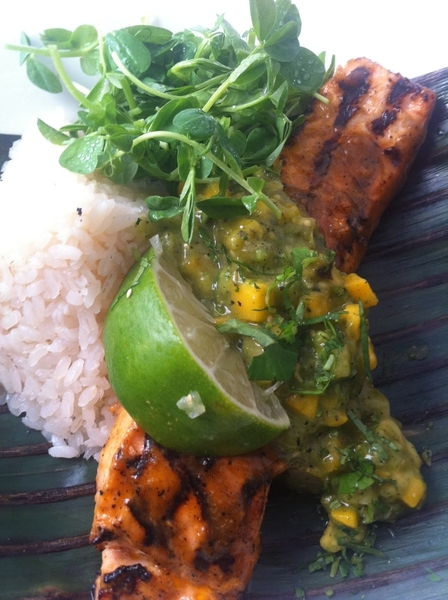 New Frontera Menu Highlight #3: wood-grld Alaska king salmon, avoc-mango-tomatillo salsa