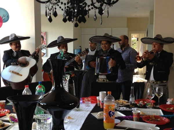 The mariachi band in full swing .