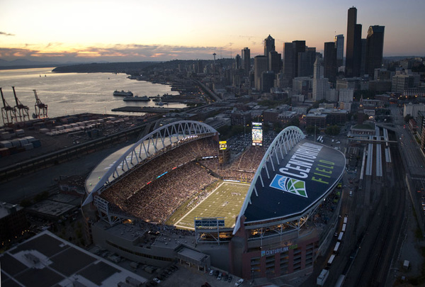 Amazing aerial view of CenturyLink Field & Seattle during tonight's game (pic by @rodmarphoto)