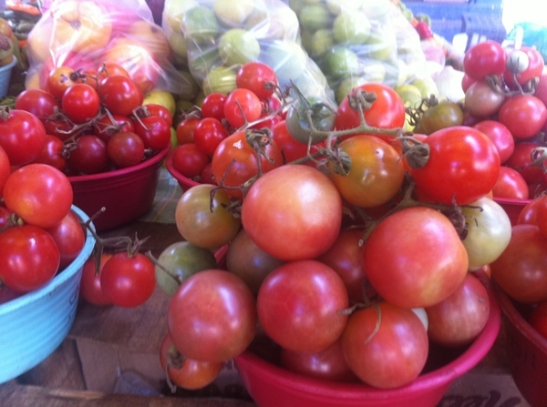 Zihua Mkt: loads of heirloom tomatoes (including tiny &quot;wild&quot; vining). Verdolagas, hierba mora, hoja santa, epazote
