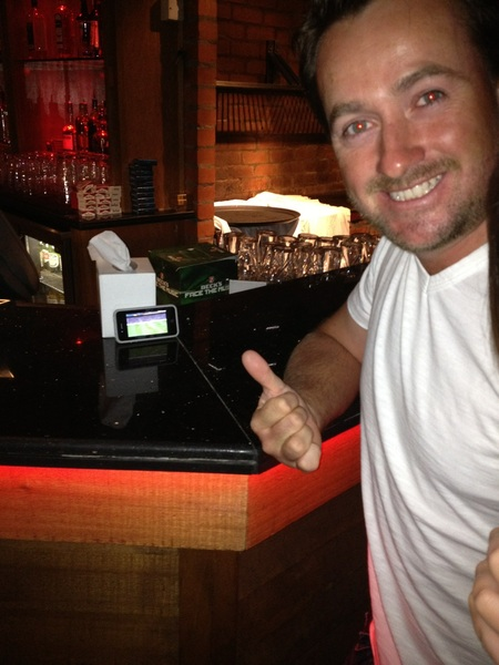 @Graeme_McDowell watching the rugby on his big screen at mcgettigans in Dubai...