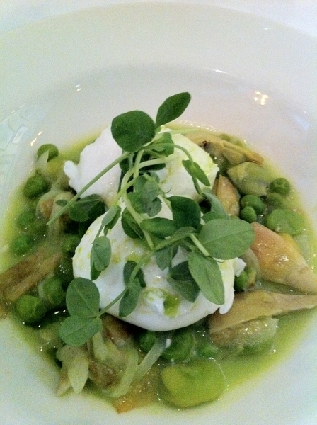 Maialino: poached eggs with favas, artichokes, peas, pea shoots