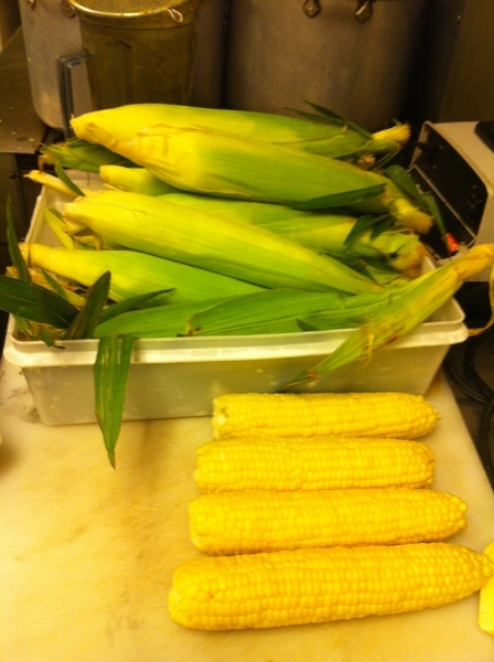 In the Frontera kitchen every station looks like this. Corn, corn, everywhere!