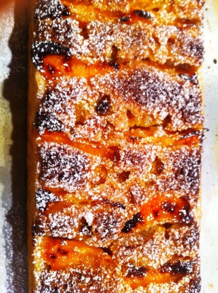 Dinner I made: apricot-almond frangipane tart (rectangular) w ground cherries