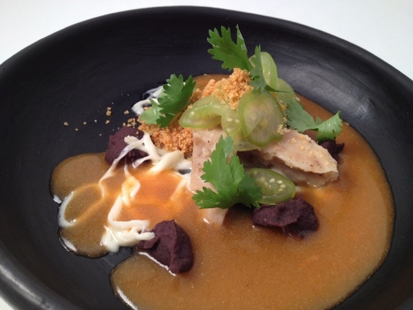 NewTopoloTasting:dishes inspired by r Oax art col:tlayuda flavors:tstd tortilla tamal,bl beans,quesillo,liquid chorizo