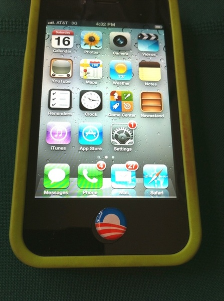 Meanwhile, my friend gave me an OBAMA button 4 my iPhone.. http://j.mp/P18r7D #p2