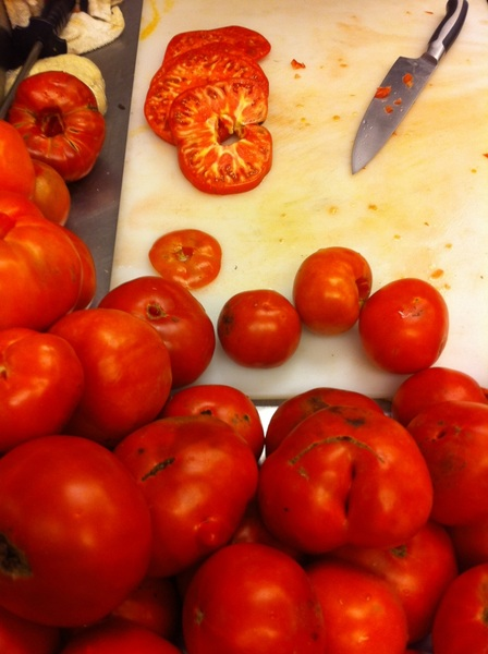 These Snug Haven heirlooms that we&#039;re chopping for salsa are incredibly aromatic. How I love summer!