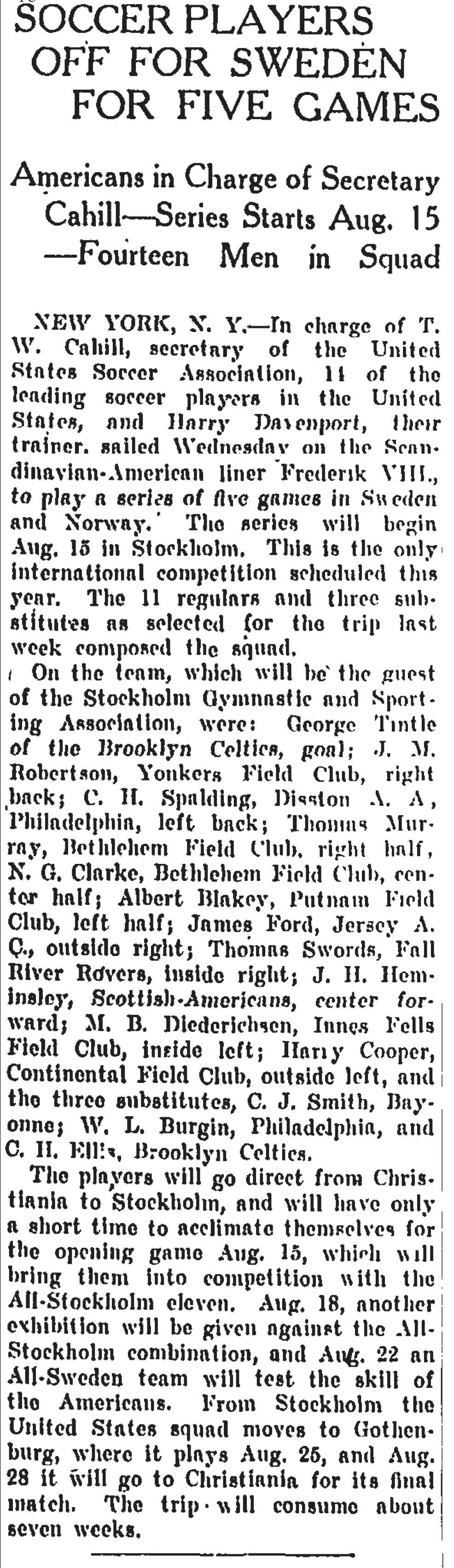 July 27, 1916 (Christian Science Monitor) USMNT departs for Sweden