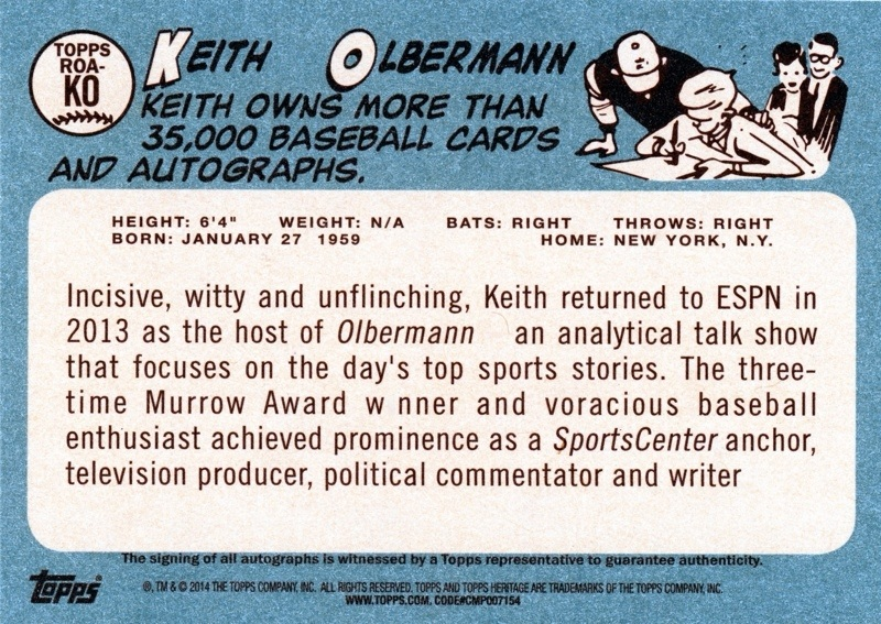 Back of Keith's 2014 Topps baseball card.