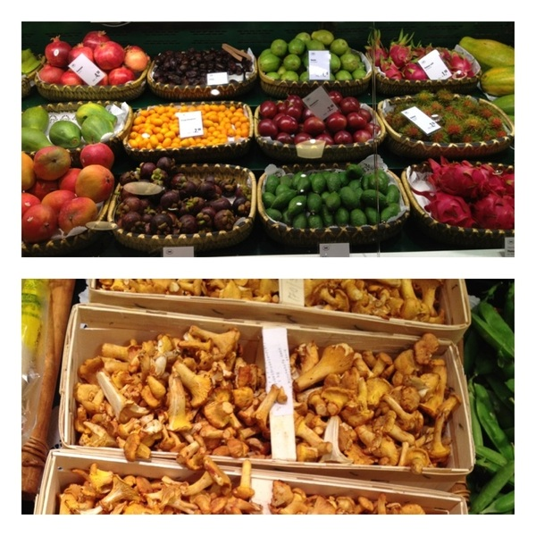 Berlin: KaDeWe: wonderful displays of exotic fruits and veg, wild chanterelles