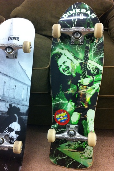 To those asking, Dimebag decks are available at: http://elephantbrandskateboards.com/ Old school shape but with concave- rides sweet!