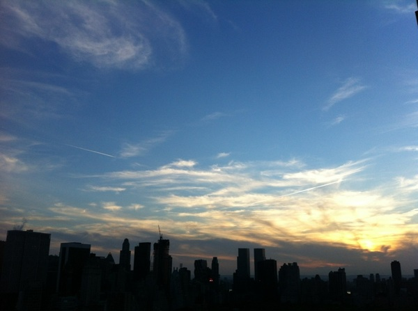 NYC sunset is a little foggier than this shot suggests. Still very nice