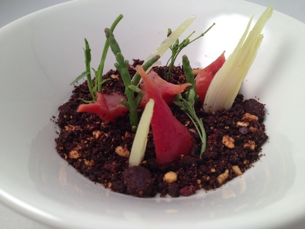 New Topolo Tasting: dishes inspired by r Oax art collection:savory hazelnut-goat milk flan,cacao-pasilla 'dirt,' garden