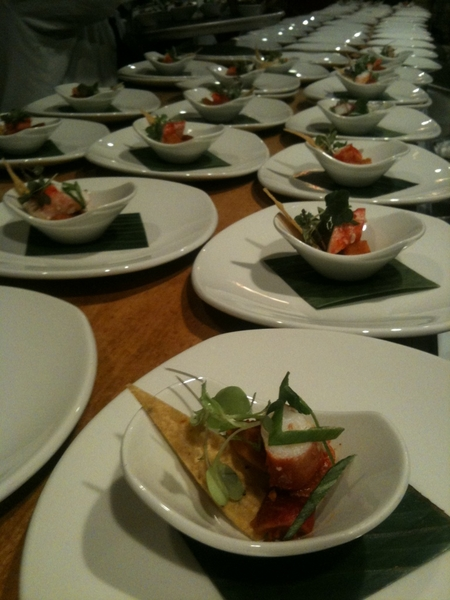 Frontera Farmer Foundation Dinner: Amuse ready for pick up: City Farm Radish kimchi, Alaskan halibut, tostada