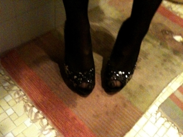 The shoes - peeptoe &amp; sequined