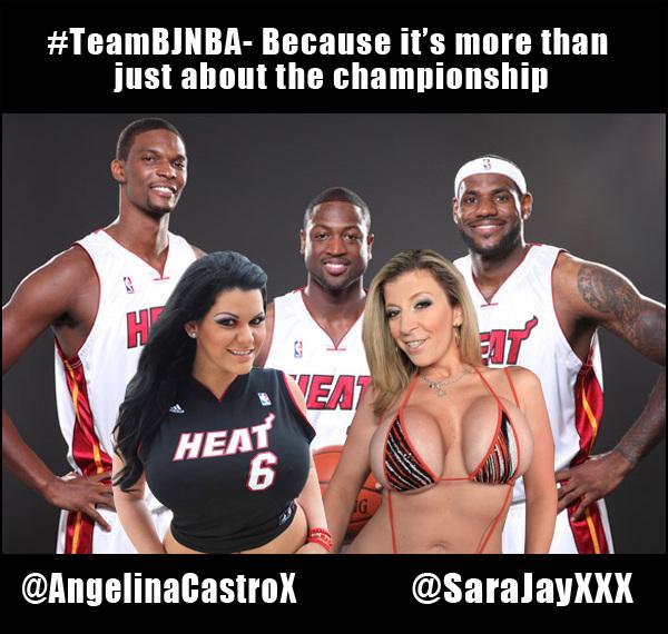 #WTF! @DwayneWade @KingJames @ChrisBosh with @SaraJayxxx @AngelinaCastroX on #TeamBJNBA #Heat ~ rt!