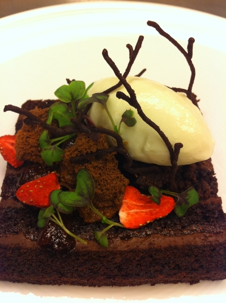 Tasting new Topolo menu ideas: choc cake, sr cream ganache, preserved fraises de bois, mint-milk sorbet 