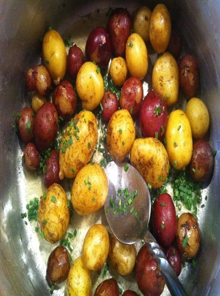 2nite&#039;s dinner: also included just dug Nichols new potatoes, Nordic summer butter (get it!), garden chives