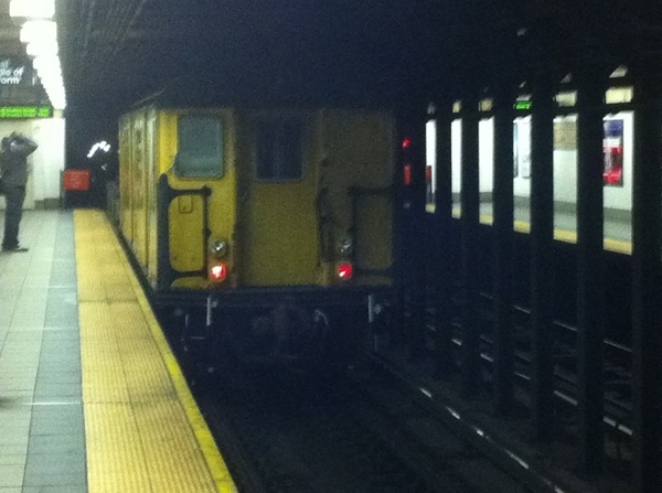 Always a strange and unexpected sight on the NYC subway - non-passenger crew car - might've been a track grinder