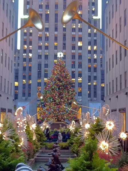 Skating under tree in Rockefeller Center