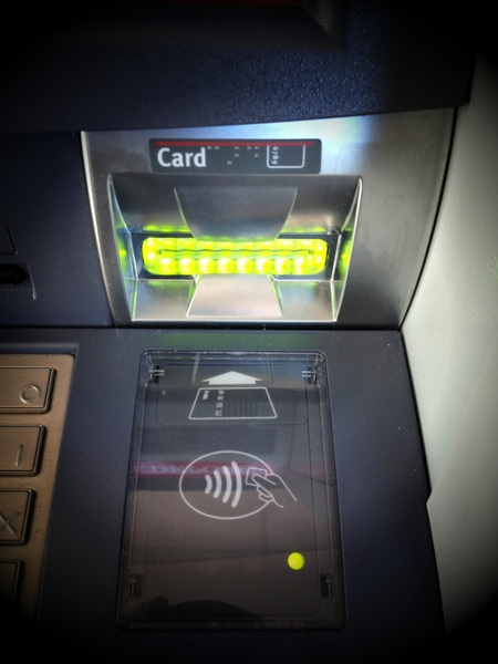 NFC card reader at ATM. 