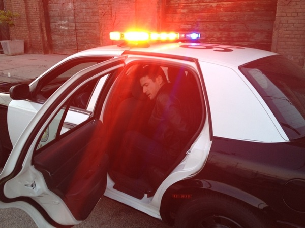 Playing with the props on set , nothing more scary than a fake arrest 