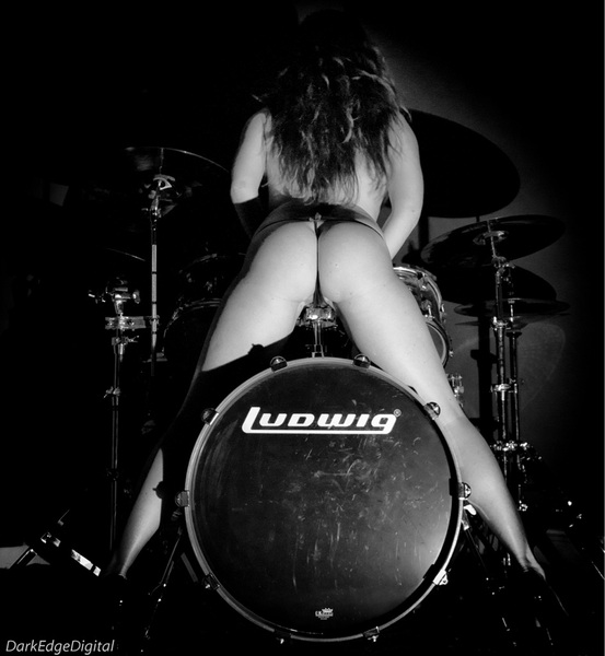 nude women on drums