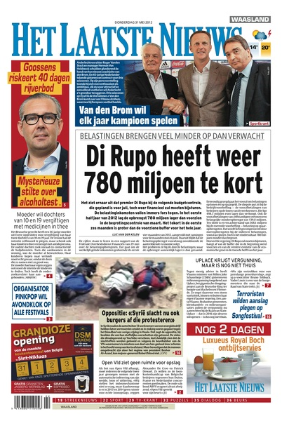 #HetLaatsteNieuws 31 mei 2012, de voorpagina: Di Rupo heeft weer 780 miljoen te kort