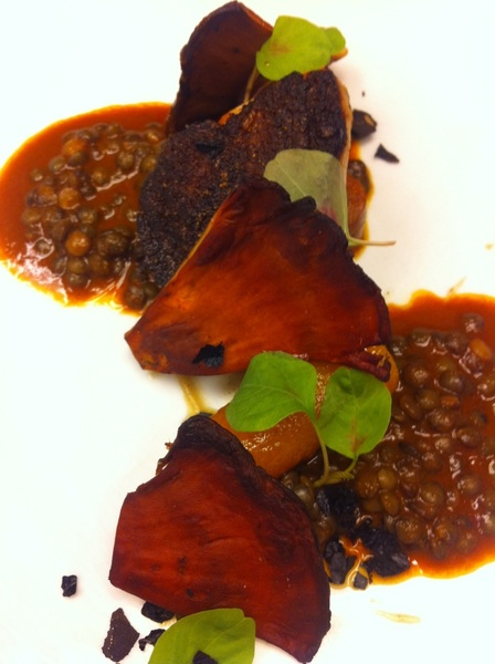 Working w chefs Joel & Amado on new Topolo dish: pulque-brined pheasant, lentil-guajillo-pulque sauce, lobster shrooms