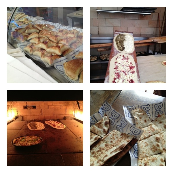 Dubai:B'fast 2 b'fast: fatayer resto (dough-wrapped treats). Making manakish (pizza-like) w zataar & w Algerian sausage