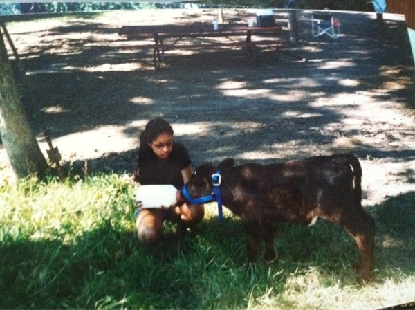 Whilst unpacking I found this old pic of me age 15 with my pet calf Lacey 