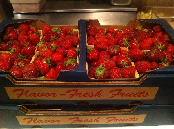 Look at these beautiful strawberries from Seedling that just came in!  Wish you could smell them.