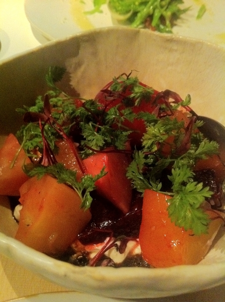 ABC Kitchen: heirloom beets with thick yogurt and herbs. Try this combo!