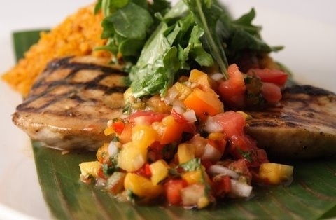 "Grilled swordfish with ""rooftop tomato"" salsa from the new Frontera menu"