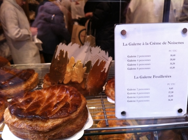 Buying 3Kings galette (hazelnut filling) at Poilaine. And heavenly apple chausson,croissant, sour/perfect bread