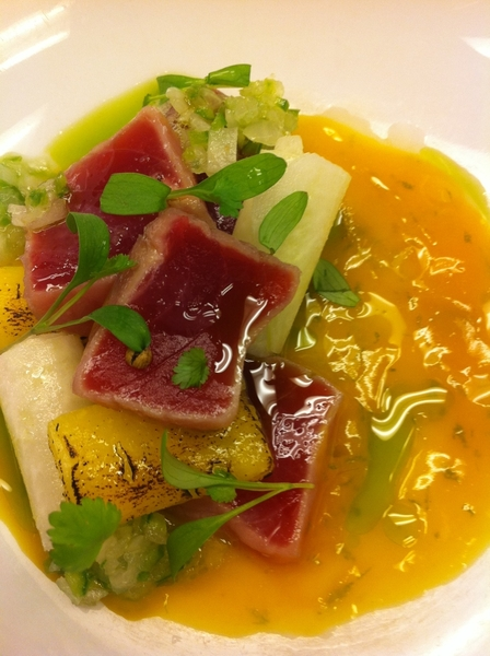 Poss new Frontera: 5-min #1 ylwfin tuna ceviche, lime j&amp;zest, mango, jicama, pia, cilantro oil