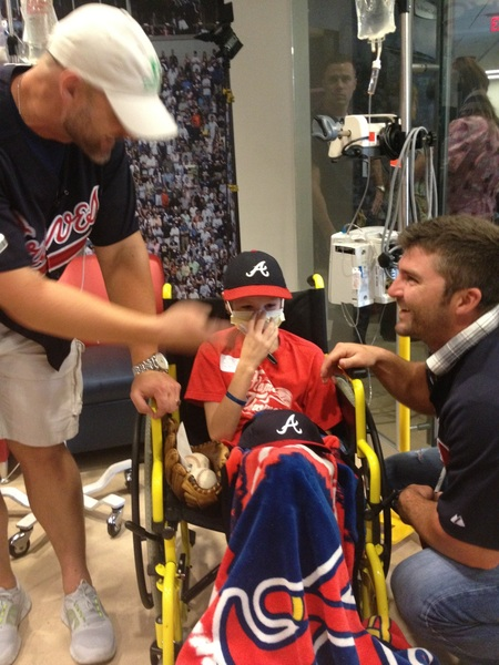 Ross and Uggla spreading cheer - and smiles - in The Zone @childrensatl  #ChristmasinJuly