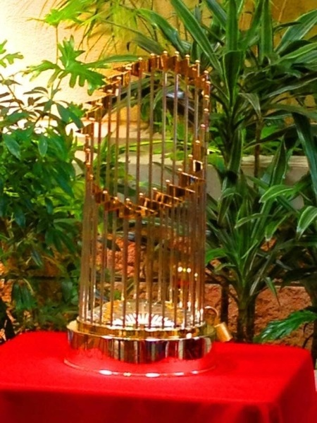 Look what showed up at the JRA South Campus today - the Cardinals 2011 World Series Trophy!  Very Cool  #Cardinals