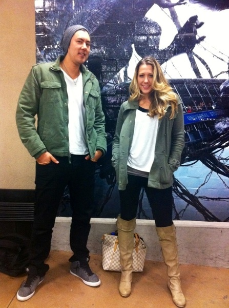 Ran into @JustinYoung at the airport...who wore it better? ☺