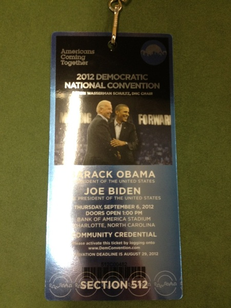 Guess who's going to be in Bank of America stadium when Obama gives me acceptance speech? ME!