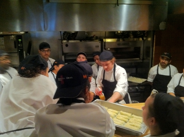 Chef Zach schooling chefs on the presentation of each dish 4 tonight&#039;s special dinner