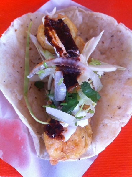 Ensenada Seafood Mkt: the famous battered fish tacos of Ensenada w cabbage, mayo crema, árbol salsa
