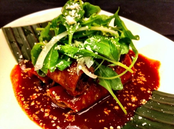 Poss new Frontera dish: lamb flautas, guajillo sauce, greens from my garden