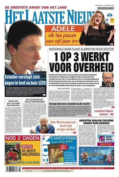 #HetLaatsteNieuws 15 februari 2012, de voorpagina: 1 OP 3 WERKT VOOR OVERHEID