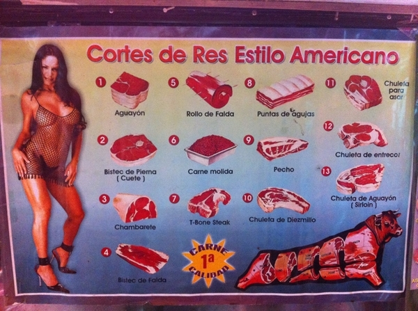 San Juan Market, DF: poster in meat stall. Always good to know your meat cuts :)