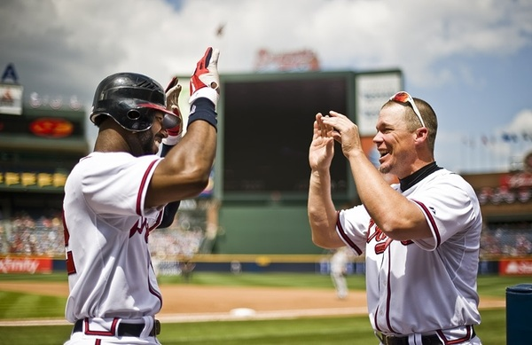 Photo of the Day by @bravesphoto features Chipper greeting Heyward after his home run.